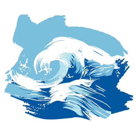 Vector illustration of a stylized brushed ocean wave splashing. Design element.