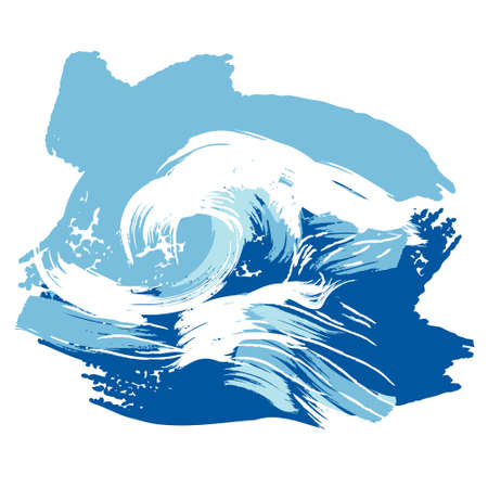 Vector illustration of a stylized brushed ocean wave splashing. Design element.