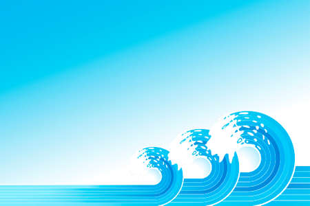 Vector illustration of three retro water waves spiraling backwards with stylized white splashes. Copy space.