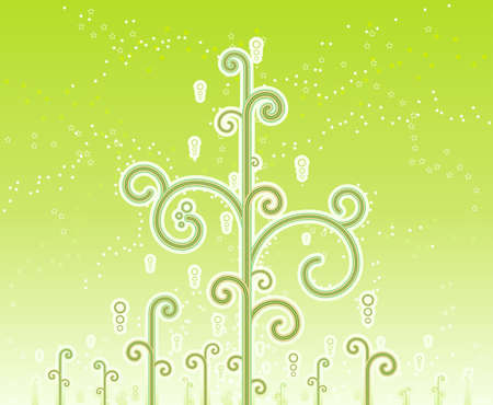 Vector illustration of lovely swirly magic trees with magical stars and horizon gradient effect. Stock Illustration - 3411266