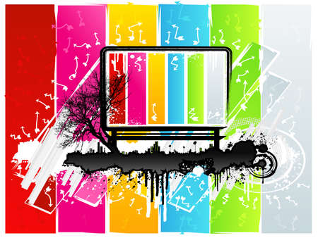 Vector illustration of a highly detailed modern grunge background design element with tree silhouette, city skyline, funky shapes and cool arrows and a central billboard for custom text. Rainbow colored.