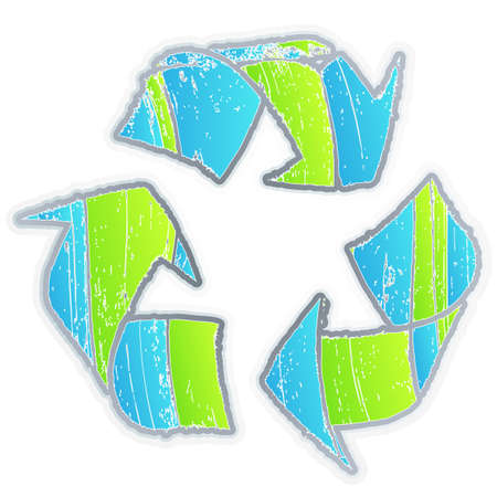 Vector illustration of an aged recycle symbol with funky color selection and old grunge look. Imagens