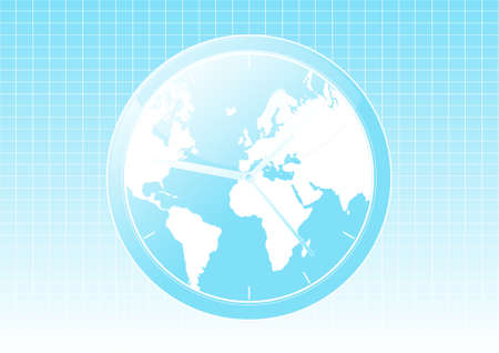 Vector illustration of a conceptual global world clock background. Vector