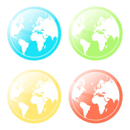 Vector illustration of four differently colored world map glossy modern icons. Vector
