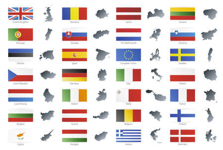 Vector illustration of button flags of the 27 members of the European Union as of 2008 plus NATO and the EU. Coupled with national maps. Stock Illustration - 3439617