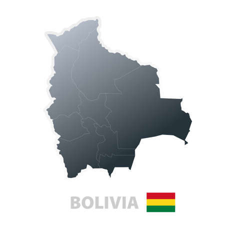 Vector illustration of the map with regions or states and the official flag of Bolivia. illustration
