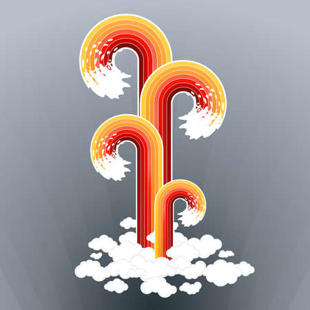 splashy: Vector illustration of four splashy lined art design elements exploding from a group of clouds.