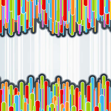 Vector illustration of a colorful columns background with funky retro bars and shaded offset paths. Central copy space. illustration