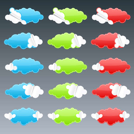 Vector illustration of fifteen cloudy peeling effect business retail stickers. illustration