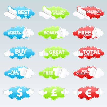 Vector illustration of fifteen cloudy peeling effect business retail stickers with sale theme slogans.