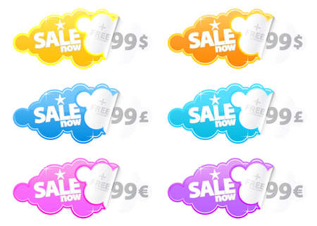 Vector illustration of retro peeling stickers with sale text and space for Euro, Pound or Dollar price tag. Customizable. illustration