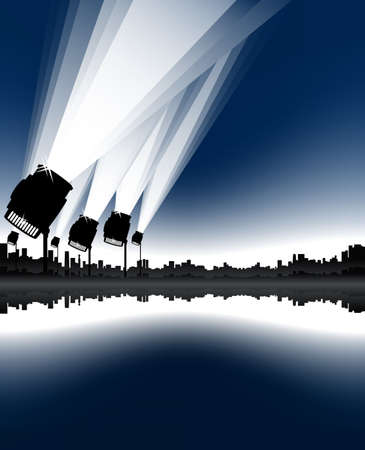 Vector illustration of an urban cityscape and skyline with sea bay and spotlights in the sky.