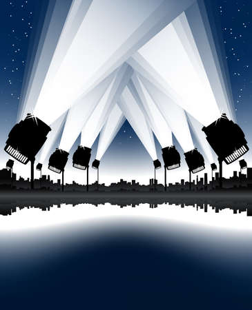 Vector illustration of an urban cityscape and skyline with sea bay and spotlights in the sky. Night sky with stars.