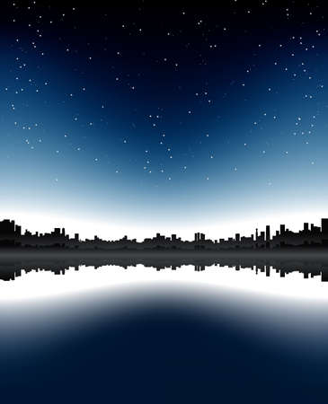 Vector illustration of an urban skyline with sea bay reflection and sky full of stars. illustration