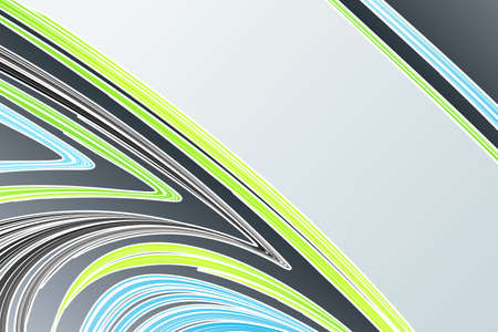 Vector illustration of a modern lined art background in blue and green flowing colors. illustration