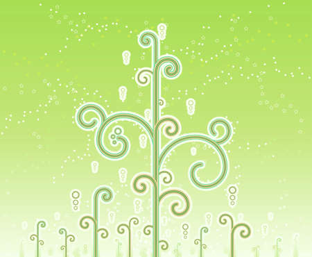 Vector illustration of lovely swirly magic trees with magical stars and horizon gradient effect. Stock Vector - 3482355