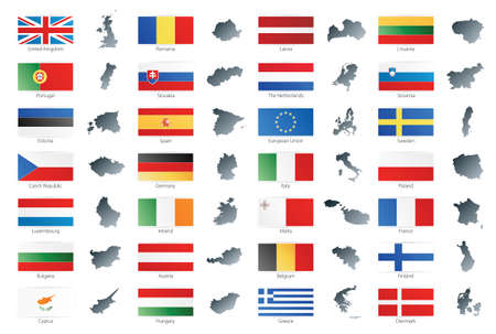 Vector illustration of button flags of the 27 members of the European Union as of 2008 plus NATO and the EU. Coupled with national maps. Vector