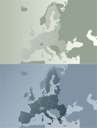 Vector illustration of the European Union map with state borders. Two color variations in modern earth color tones.