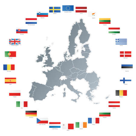 Vector illustration of flags of the 27 members of the European Union as of 2008 plus NATO and the EU spread in a circle around the countries map.