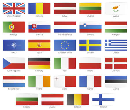 Vector illustration of button flags of the 27 members of the European Union as of 2008 plus NATO and the EU. With slick icon borders.