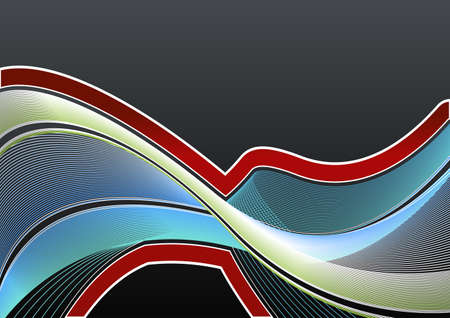 Vector illustration of a highly detailed modern lined art background in blue and green flowing colors and red gradient border. Vector