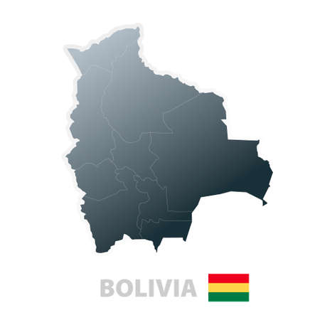 Vector illustration of the map with regions or states and the official flag of Bolivia. Vector