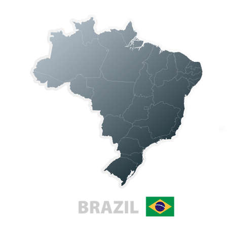 Vector illustration of the map with regions or states and the official flag of Brazil.