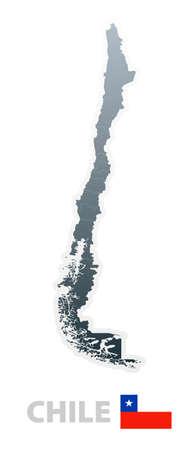 bandera de chile: Vector ilustraci�n del mapa con las regiones o STES y la bandera oficial de Chile.