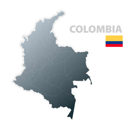 Vector illustration of the map with regions or states and the official flag of Colombia.
