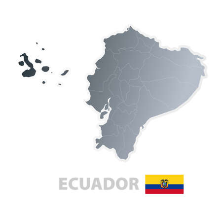 Vector illustration of the map with regions or states and the official flag of Ecuador. Vector