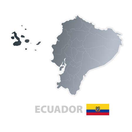 bundesl�nder: Vektor-Illustration der Karte mit den Regionen oder Staaten und die offizielle Flagge von Ecuador.