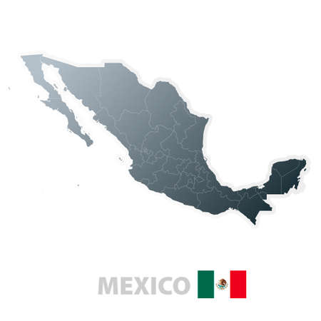 Vector illustration of the map with regions or stes and the official flag of Mexico.