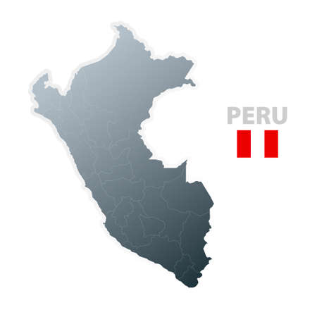 slick: Vector illustration of the map with regions or states and the official flag of Peru.