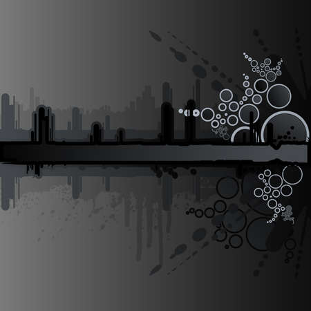 Vector illustration of a grunge and retro dark black background with ink splatter elements, retro circles and drops and stripe for custom text. Urban cityscape backdrop. Standard-Bild