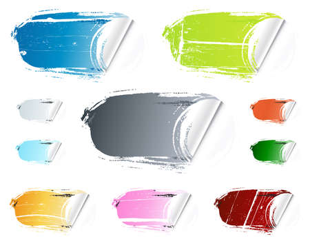 Vector illustration of ten different colorful retail stickers. Washed out, old and grungy. Collection or set. Imagens