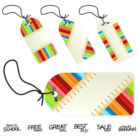 Vector illustration of colorful back to school conceptual retail tags or labels. Four versions. Hand written retail text labels.