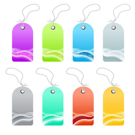 Vector illustration of a collection of business wavy retro retail tags or labels. Modern waves and squares abstract textures. Eight color variations. Stock Illustration - 3496510