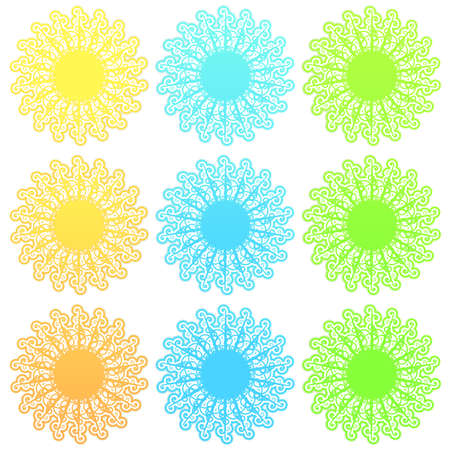 slick: Vector illustration of a stylized retro funky suns with slick gradients. Stock Photo