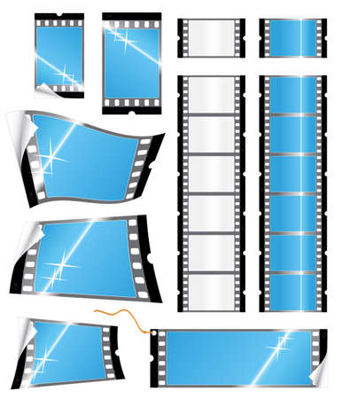 Vector illustration of various glossy stickers and tags or labels in the shape of a film strip. Photography concept. illustration