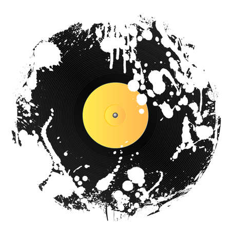 Vector illustration of a vinyl disc covered in white ink splatters. Grunge style. illustration