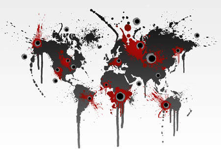 Vector illustration of a grunge world map splatter with gunshot wounds. Globalization business or ecological catastrophe concept. Stock Photo