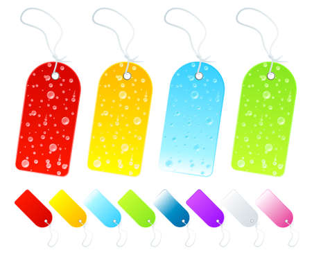 Vector illustration of beautiful season tags and labels in various shiny gradients. Four with wet weather drop details. Vector