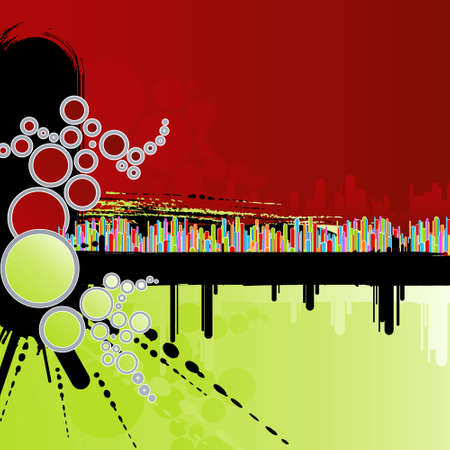 Vector illustration of an abstract grungy green and red background with rainbow columns and modern circles. Vector