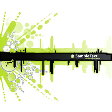 Vector illustration of a grunge and retro green and white background with ink splatter elements, retro circles and drops and a black stripe for custom text.