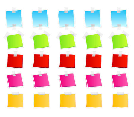Vector illustration of sticky retail notes. 25 elements in various colorful versions. Illustration