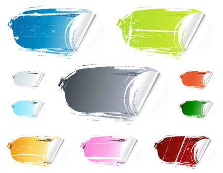 Vector illustration of ten different colorful retail stickers. Washed out, old and grungy. Collection or set. Stock Vector - 3551591