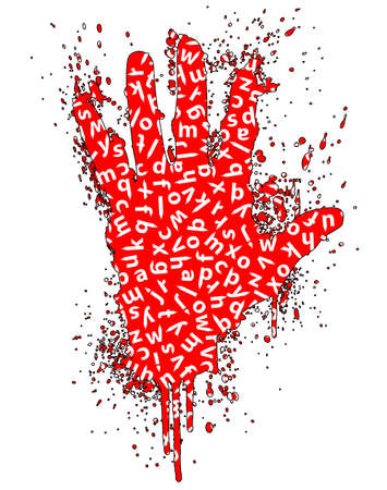 Vector illustration of a hand gesture grunge splatter with education concept.