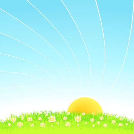 idyll: Vector illustration of an idyllic sunny nature  with a blue gradient stripes sky, green grass with yellow flowers and romantic sky. Stock Photo