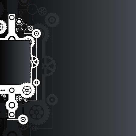 Vector illustration of a technological clockwork cog  in black color. illustration