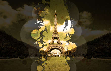 wide angle: Vinyl splatter music design with overlays on a beautiful wide angle perspective Eiffel tower shot. Stock Photo